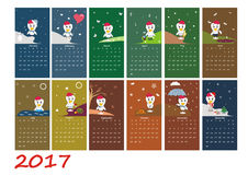 Calendar for 2017 year with rooster. Chinese symbol of new year. Week starts on sunday. Vector illustration Royalty Free Stock Images