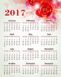 Calendar for 2017 year with rose Stock Images