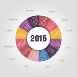 Calendar 2015 year round shape. Vector, eps 10 stock illustration
