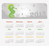 Calendar 2015 year with sea horse Stock Photography
