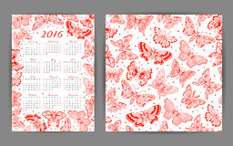 Calendar 2016 year and seamless pattern with Stock Photos