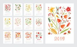 Calendar for 2019 year. Set of page templates with months decorated with beautiful flowers and seasonal plants on white. Background. Colorful decorative floral stock illustration