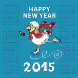 Calendar 2015 Year of Sheep. Cartoon sheep skating. Calendar new Year 2015.Year of Sheep. Vector Cartoon colored sheep skate.Cyan background.White silhouette Royalty Free Stock Photography