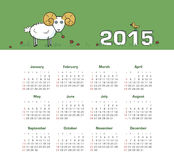 Calendar 2015 year with sheep. Vector, eps 10 Royalty Free Stock Photo