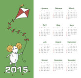 Calendar 2015 year with sheep Royalty Free Stock Photo