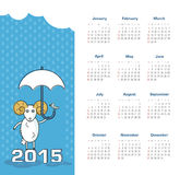 Calendar 2015 year with sheep. Vector, eps 10 Royalty Free Stock Photos