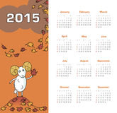 Calendar 2015 year with sheep. Vector, eps 10 Stock Photography
