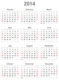 Calendar for the year 2014. Simple calendar for the year 2014 Royalty Free Stock Photo