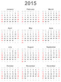 Calendar for the year 2015 Stock Image