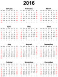 Calendar for the year 2016. Simple calendar for the year 2016 Royalty Free Stock Photos
