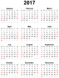 Calendar for the year 2017 Stock Photo