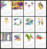 Calendar 2017 year simple animal style. Calendar 2017 year simple style layered template with abstract design elements in tropical flowers pattern colors . Week royalty free illustration