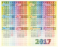 Calendar 2017 year. Simple colorful vector calendar of 2017 year Royalty Free Illustration