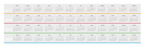 Calendar of year 2017, 2018, 2019, 2020, simple design,. Simple design basic calendar of year 2017, 20178, 2019, 2019, month parallel, years among other Stock Image