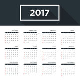 Calendar 2017 for a year, simple flat design. Starts week from Sunday, vector illustration Royalty Free Stock Photos
