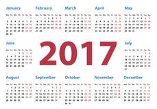 Calendar for 2017 year. Simple calendar for 2017, calendar 2017, organizer 2017, vector calendar, pocket horizontal calendar design, horizontal calendar Royalty Free Stock Photo