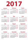 Calendar for 2017 year Stock Photography