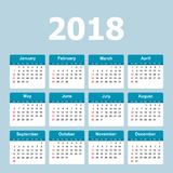 Calendar 2018 year in simple style. Calendar planner design temp Royalty Free Stock Photo