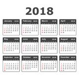 Calendar 2018 year in simple style. Calendar planner design temp Royalty Free Stock Photos
