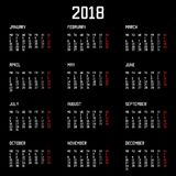 Calendar 2018 year simple style isolated on black background. Vector illustration. Eps 10 Royalty Free Stock Images