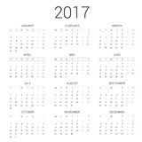Calendar 2017 year simple style.Week starts Monday Stock Photography