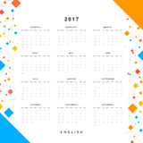 Calendar 2017 year simple style. Week starts from sunday. Template with a calendar for 2017 for design Royalty Free Stock Images