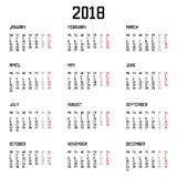 Calendar 2018 year simple style  on white background. Vector illustration. Eps 10 Royalty Free Stock Photos