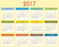 Calendar 2017 year. Simple vector calendar of 2017 year royalty free illustration