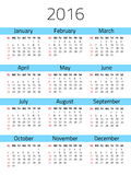 Calendar for 2016 year. Simple calendar for 2016 year. Week starts Sunday. Vector design template vector illustration