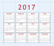 Calendar for year 2017. Simply designed calendar for year 2017 Stock Photography