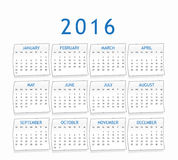 Calendar for year 2016 Stock Images