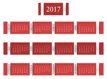 Calendar for year 2017. Simply line designed calendar for year 2017 Stock Photo