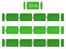 Calendar for year 2016. Simply line designed calendar for year 2016 Stock Photos