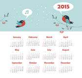 Calendar 2015 year with singing birds. Vector, eps 10 Royalty Free Stock Photos