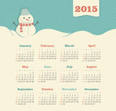 Calendar 2015 year with snowman Royalty Free Stock Photos