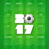 Calendar for 2017 Year with soccer ball on bright green background. Sport, football theme. Week starts from sunday. Calendar for 2017 Year with soccer ball on Stock Illustration