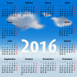 Calendar for 2016 year in Spanish with clouds. Calendar for 2016 year with clouds in the blue sky. Weekdays names in Spanish. Mondays first. Vector illustration Vector Illustration