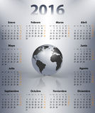 Calendar for 2016 year in Spanish with the world globe. In a spots. Mondays first. Vector illustration royalty free illustration