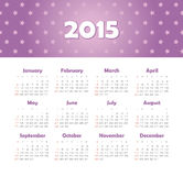 Calendar 2015 year with stars Royalty Free Stock Image