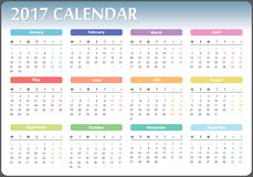 Calendar 2017 year. Calendar for 2017 starts on monday, calendar 2017, organizer 2017, vector calendar, pocket calendar design, horizontal calendar, colored Stock Images