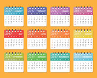 Calendar 2017 year. Calendar 2017 starts sunday, calendar for 2017 Royalty Free Stock Image