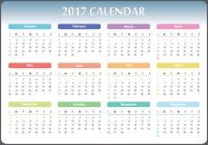Calendar 2017 year. Calendar for 2017 starts sunday, calendar 2017, organizer 2017, vector calendar, pocket calendar design, horizontal calendar, colored Royalty Free Stock Images