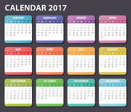 Calendar 2017 year. Calendar 2017, starts sunday, organizer 2017, vector calendar 2017, square calendar design for 2017 year, colored calendar 2017, calendar for Stock Photo