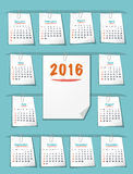 Calendar for 2016 year on sticky notes Stock Photos