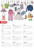 Calendar 2016 year.Summer fashion set.Colored. Fashion illustration.Calendar 2016 new year.Vector hand drawn fashionable women clothes and accessories hanging on vector illustration