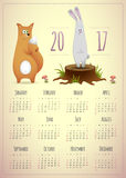 Calendar 2017 year template cute design. Calendar 2017 year template, cute design with fox and rabbit. Vector illustration Royalty Free Stock Images