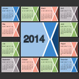 Calendar 2014 year template, modern layout page Royalty Free Stock Images