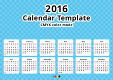 Calendar 2016 year template. Calendar 2016 year vector design template - Minimalism Style, substrate months on color cell background Royalty Free Stock Images