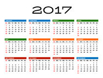 Calendar for 2017 year. Template. White background. Week starts Sunday. EPS 8 Stock Photography