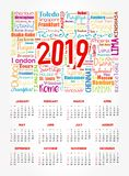 Calendar for 2019 year, travel cities word cloud vector illustration